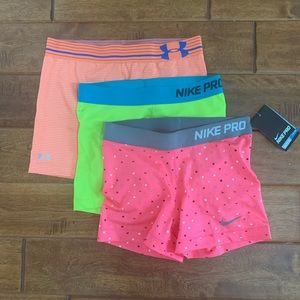 Set of 3 athletic shorts: Nike Pro & Under Armour